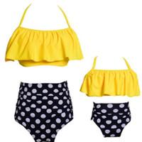 Top 2020 set parent enfant haute impression maillots de bain waisted costume mère fille bikini volanté enfants filles chaussent yakuda sexy style souple