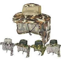 Açık Kamuflaj Kapaklar Spor Yaprak Orman Askeri Kap Balıkçılık Şapka Güneş Ekran Gazlı Bez Şapkası Kovboy Paketlenebilir Ordu Kova Şapka ZZA449 Deniz Nakliye