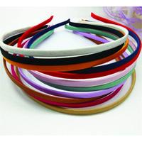 50 piezas en blanco Colores sólidos Tela Cubierta Diadema Cubierta de metal 5mm Banda para el cabello para accesorios para el cabello DIY Craft Envío gratis al por mayor