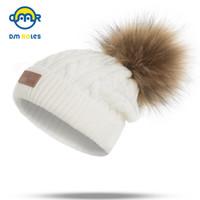 DMROLES 2018 Pom Niños Sombrero de Invierno Para Niñas Sombrero Gorros de Punto Cap Brand New Thick Baby Cap Baby Girl Winter Warm Hat