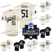 Vanderbilt Commodores Jersey 21 Tyler Brown 22 Julian Infante 51 J.J. BLEDAY 80 Kumar Rocker 2019 NCAA College WS W S Costume Jersey