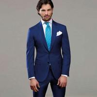 Peaked Design Синие костюмы для деловых мужчин Одежда для жениха Свадебные смокинги 2Piece Groomsmen Wear for Man Костюм блейзер Homme Terno Masculino