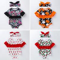 Babyspielanzug Weihnachten Kinder Cartoon Lotusblatt Hülse Kostüm Baumwolle Strampler Mit Stirnband INS Halloween Tag Kinderkleidung Z01