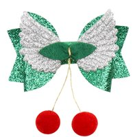 Christmas sparkling hair 3 inch bow hairpin wings polka dot ...