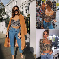 HISIMPLE 2019 Moda para mujer Sexy Summer T-shirt Strap Long Sleeve Crop Tops Leopard Print T-shirts