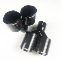 Dubbel avgasrör Akrapovic Glossy Black Carbon Fiber Rostfritt Stål Universal Ljuddämpare Tips