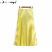 Klacwaya mujeres plisadas faldas amarillas 2019 verano playa damas nueva cintura alta elasticidad midi falda niñas desgaste de la calle faldas chic