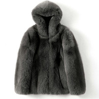 Inverno nova imitação de peles vestuário imitação de todo o revestimento azul dos homens encapuzados casaco de pele