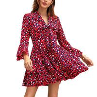 Summer Fashion Mulheres Leopard Impresso alargamento Sleeve V-neck Club Party Mini Vestido Ladies Clothing Sem Belt SJ1968V