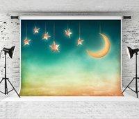 Traum 7x5ft Nacht Golden Moon Kulisse Sterne Himmel Dekor Fotografie Hintergrund für Kinder Party Porträt Fotosession Backdrops Studio Prop