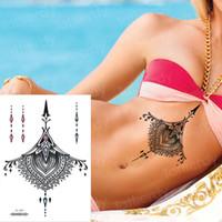 Frauen Schmuck Sternum Temporäre Tätowierung Brust Körper Zurück Mandala Mehndi Henna Tattoo Aufkleber Halsband Anhänger Unter Brust Tattoo