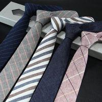 Versión estrecha de la corbata de hombre de algodón y lino corbata masculina 6 cm de uso formal de negocios Casual de trabajo profesional Chequeo Padre Regalo Estudiantes Lazo