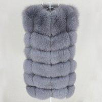 OFTBUY 2.020 mujeres natural muy grande mullida piel de Fox de la chaqueta del chaleco chaleco corto sin mangas de invierno gruesa caliente de la capa de abrigo Negro