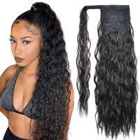 Longue maïs Curly Curly Poney Synthétic Cheveux Morceaux Ruban Cordon de cordon Wavy Clip sur la queue de cheval Extensions de cheveux faux morceaux de cheveux