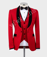 Handsome Groomsmen scialle risvolto smoking dello sposo degli uomini Wedding Dress Man Giacca Blazer Prom Cena 3 tuta (Jacket + Pants + Tie + Vest) B370