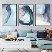 Astratto bella Hazy Navy Blue moderna della tela di canapa Pittura Stampa artistica poster da parete Immagine Soggiorno Studio Decor No Frame