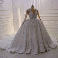 Lace Arabic 2019 Wedding Dresses Beaded Long Sleeve Ball Gow...