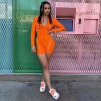 GXQIL 2019 Sport Frau Dry Fit Sports Overalls Langarm-Trainings-Kleidung für Frauen Reflektierende Streifen Jogging Femme orange