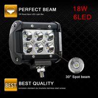 4 pulgadas 18W 6LED impermeable IP67 Luz de trabajo LED luces de puntos para camiones Vehículos fuera de carretera Lámpara de barra LED HHA77