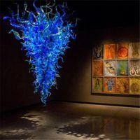 مصابيح كبيرة الأزرق مورانو الزجاج الثريات ضوء الحديثة الصمام المصابيح اليد في مهب الزجاج الكريستال الثريا مصباح ل غرفة المعيشة الديكور المنزل