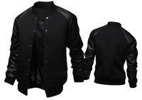 Erkek Yaka Uzun Kollu Baseballl Coats Spor Kasetli Deri Tek Breasted Erkek Dış Giyim Erkek ceketler Standı