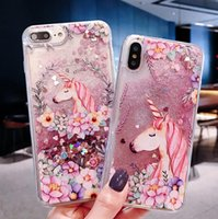 Teléfono móvil shell flor Unicornio full soft love quicksand shell para iphone X XS XR