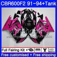 Kropp + Tank för Honda CBR 600F2 CBR600FS CBR600F2 91 92 93 94 288HM.23 CBR 600 F2 FS CBR600 F2 1991 1992 1993 1994 Fairing Kit Rose Pink Blk