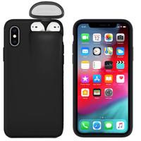 Custodia per iPhone 11 Pro Max XS XR x 10 8 7 6 6S Plus SE2 con AirPods 1st 2nd Holder Cover Plastic Hard Liscio