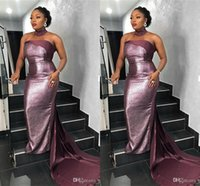 Sexy pourpre sirène pailletée robe de bal Vintage Sparkly Halter Soirée GownLuxury Parti africain formelle de demoiselle d'honneur robes Plus Size