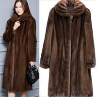Новый стильный черный коричневый искусственного меха пальто длинный раздел с капюшоном зимнее пальто Женская верхняя одежда толстые теплые