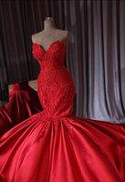 럭셔리 두바이 빨간색 파란색 인어 웨딩 드레스 2020 새로운 레이스 크리스탈 트럼펫 신부 가운 로얄 기차 연인 로브 드 Mariee