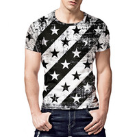 Mens Clothing Star Striped Print T- shirt Hip Hop Tops Tees S...