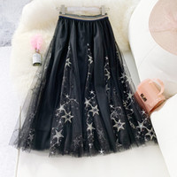 black blue beige grey summer embroidery tulle umbrella midi ...