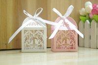 Aşk Kuş Şeker Boxs Parti Düğün Şeker Kutuları Hollow Kurdele Düğün Malzemeleri ile Sweets hediyeler Kutular Yana
