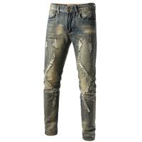 Fresco mens di marca del progettista strappato matita jeans scarni distrutti stirata dei pantaloni slim fit Hop Hop con fori per gli uomini
