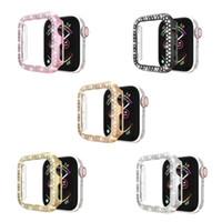 Высококачественный чехол для ПК с двухрядным бриллиантом для Apple Iwatch 1 2 3 4 5 серии 38 мм / 42 мм 40 мм / 44 мм пять цветов опционально