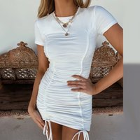 Womens simple T-shirt froncé Robe moulante à manches courtes Aménagée Party Club Casual Mini robe de nuit 2019