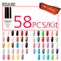 ROSALIND 58PCS / LOT Gel Vernis à ongles Nail Set pour manucure Kit gel semi permanent vernis chanceux série Pure Color UV Lampe LED