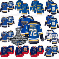 72 Justin Faulk St. Louis Blues 2019 Coupe Stanley Champions 18 Robert Thomas Vince Dunn Alexander Steen Colton Parayko Tyler Bozak Maillots