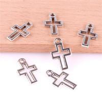 collana braccialetto fai da te tornante accessori gioielli ciondolo in metallo decorazione cellulare 23364 200PCS tibetano collana Silver Cross