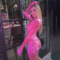Stampa floreale Sexy Donne Mini Abiti con Guanti Manica lunga Partito Clubwear Pink Fashion Bodycon Dress 2020 Skinny Slim