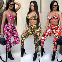 HISIMPLE 2019 New Camouflage 2 Piece Set Women Two Piece Outfits Bra Crop Tops Bodycon Skinny Pants Women Sets Ladies Suit Sexy Clubwear