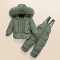 IYEAL ملابس أطفال بنات بنين أسفل معطف معزول سترات للأطفال في فصل الشتاء البدلة الدافئة خارجية + رومبير مجموعة ملابس الأطفال الروسي