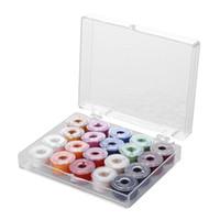 20pcs linhas de costura coloridas e 20 grades de plástico transparente máquina de costura Bobinas Acessórios resistência à abrasão