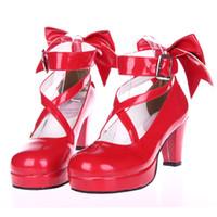 / Bowknot w 여성을위한 2020 새로운 마법 소녀 마도카 ☆ 마기 카 할로윈 코스프레 신발 일본식 애니메이션 로리타 신발 하이힐