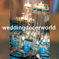 Düğün aksesuarları dekorasyon kristal kaide çiçek kristalleri ile standı akrilik Mumluk Metal Şamdan Çiçek Vazo Masa