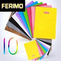 50pcs colorés en plastique Grand Sacs avec poignée, forfait sac cadeau festival (Custom Order Accepter les sacs de QMC)