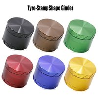 Forma del pneumatico-Stamp Ginder Tabacco Crusher veloce Locked Grinders 4 strati lega di alluminio 6 colori 63 millimetri Diametro Herb Grinder