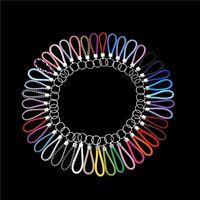 36 Colores PU Cuero Llavero trenzado Anillos de cuerda tejida Fit DIY Círculo Colgante Llavero Llavero Tenedor de Coche Llaveros Encanto Accesorios de Joyería