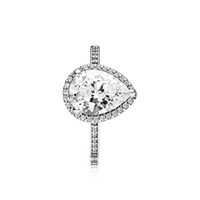 Wholesale- Silver CZ Diamond Tear drop Wedding RING Set Orig...
